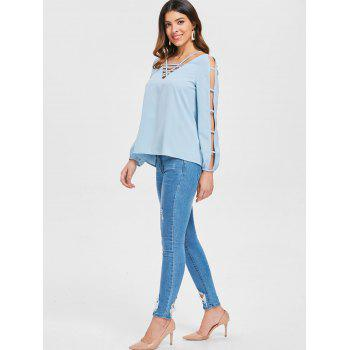 Strappy Ladder Cut Out Top - BABY BLUE L