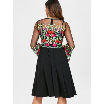 Bell Sleeve Embroidery Mesh Panel Dress - BLACK L