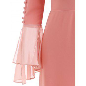 Bell Sleeve Flounced Bodycon Dress - PINK XL