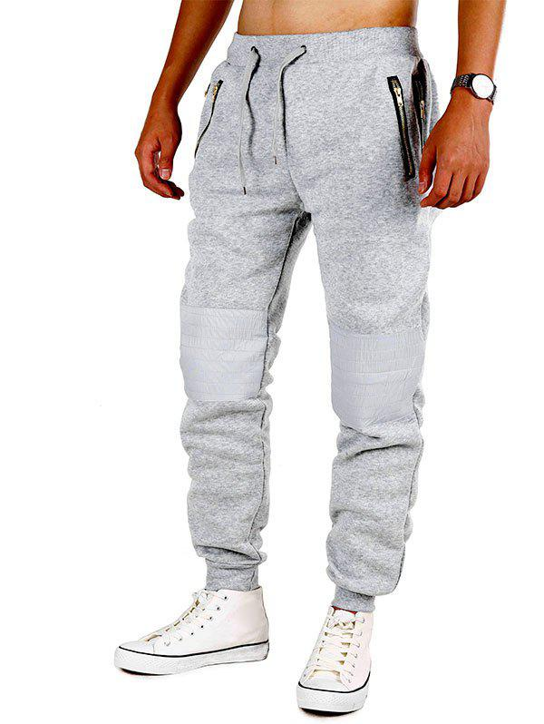 Zipper Pockets Knee Patchwork Fleece Jogger Pants - LIGHT GRAY M