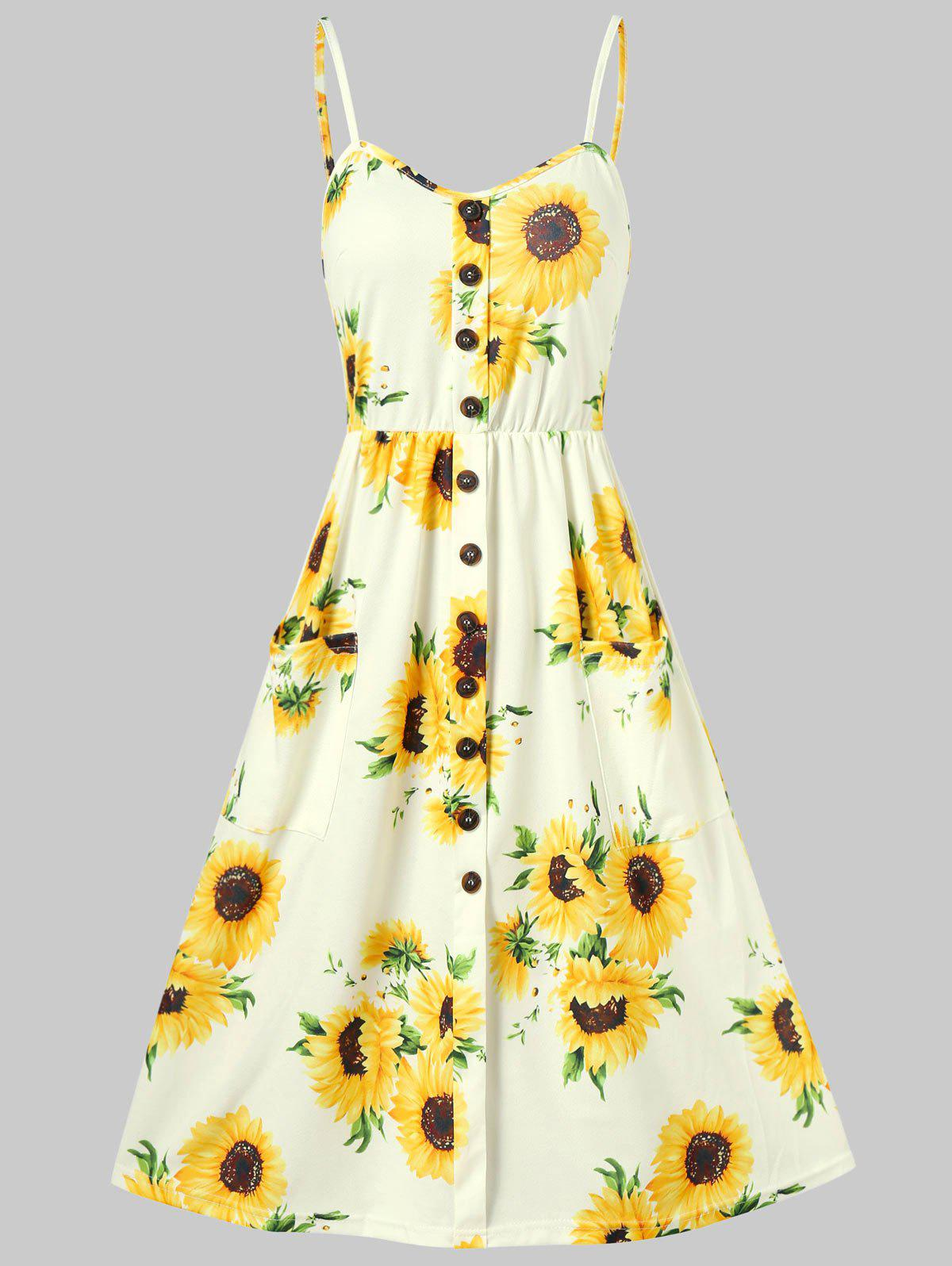 Sunflower Print Button Up A Line Cami Dress - YELLOW M