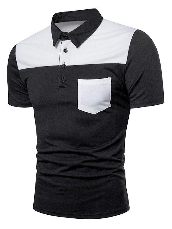 Contrast Top Pocket Patch Polo Shirt - BLACK XL