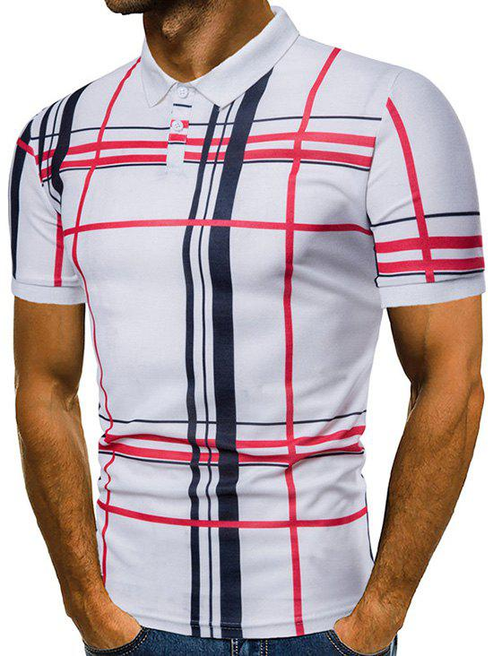 Check Print Short Sleeve Casual Polo Shirt - WHITE M