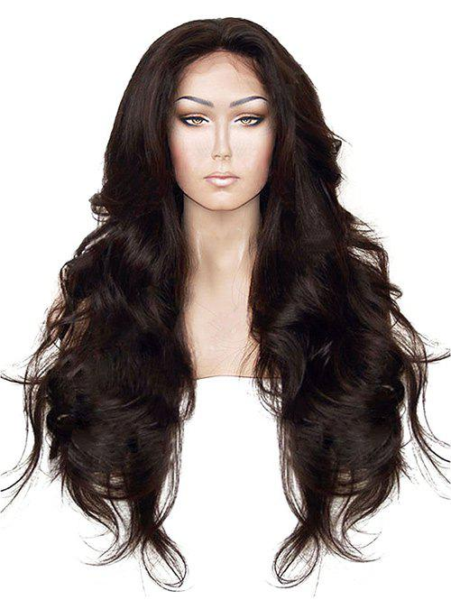 Long Free Part Wavy Synthetic Fiber Lace Front Wig - DEEP BROWN 24INCH