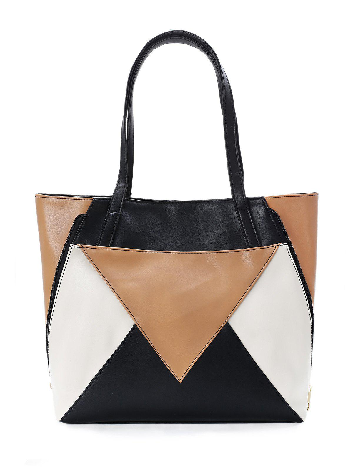 Geometric Pattern Color Block Convertible Shoulder Bag - BLACK