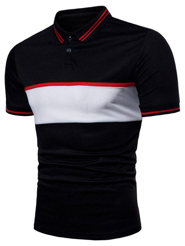 Contrast Color Chest Striped Patch Polo Shirt - BLACK M