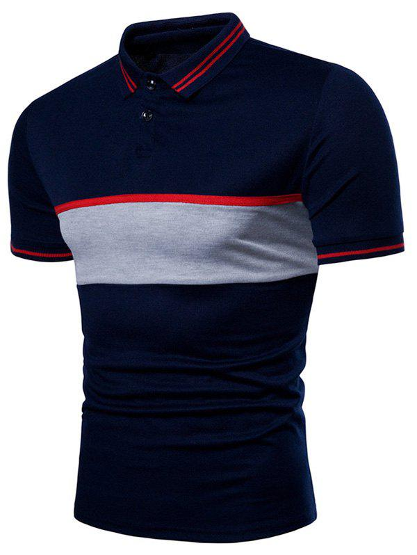 Contrast Color Chest Striped Patch Polo Shirt - CADETBLUE M