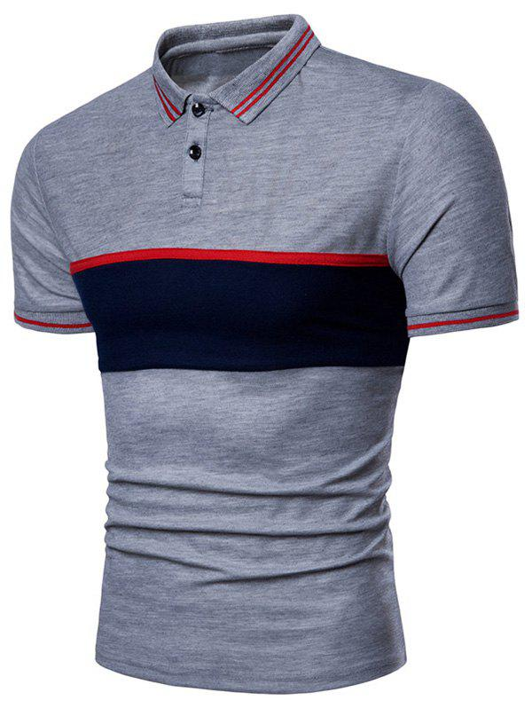 Contrast Color Chest Striped Patch Polo Shirt - GRAY L