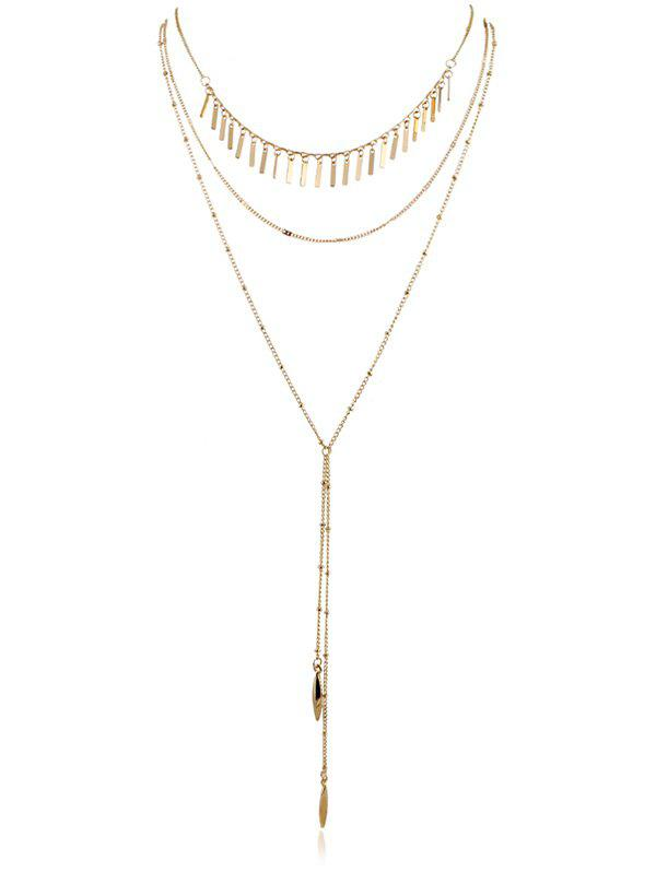 Layered Chain Pendent Necklace - GOLD