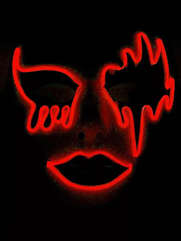 Masque d'Halloween Lumineux Style Cosplay - Rouge