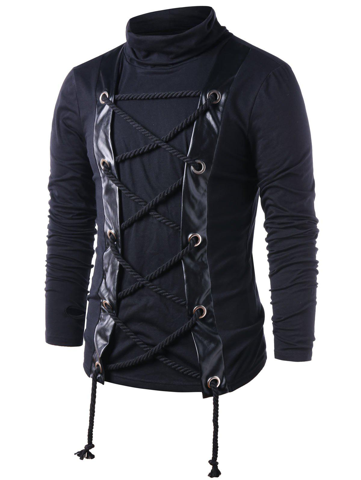 Long Sleeve Lace Up Turtle Neck T-shirt - BLACK M