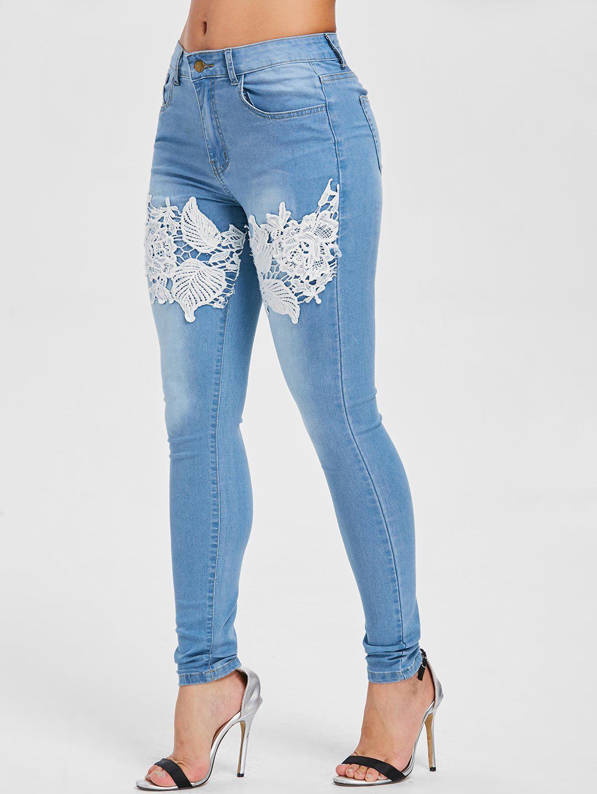 Floral Applique Pencil Jeans - JEANS BLUE XL