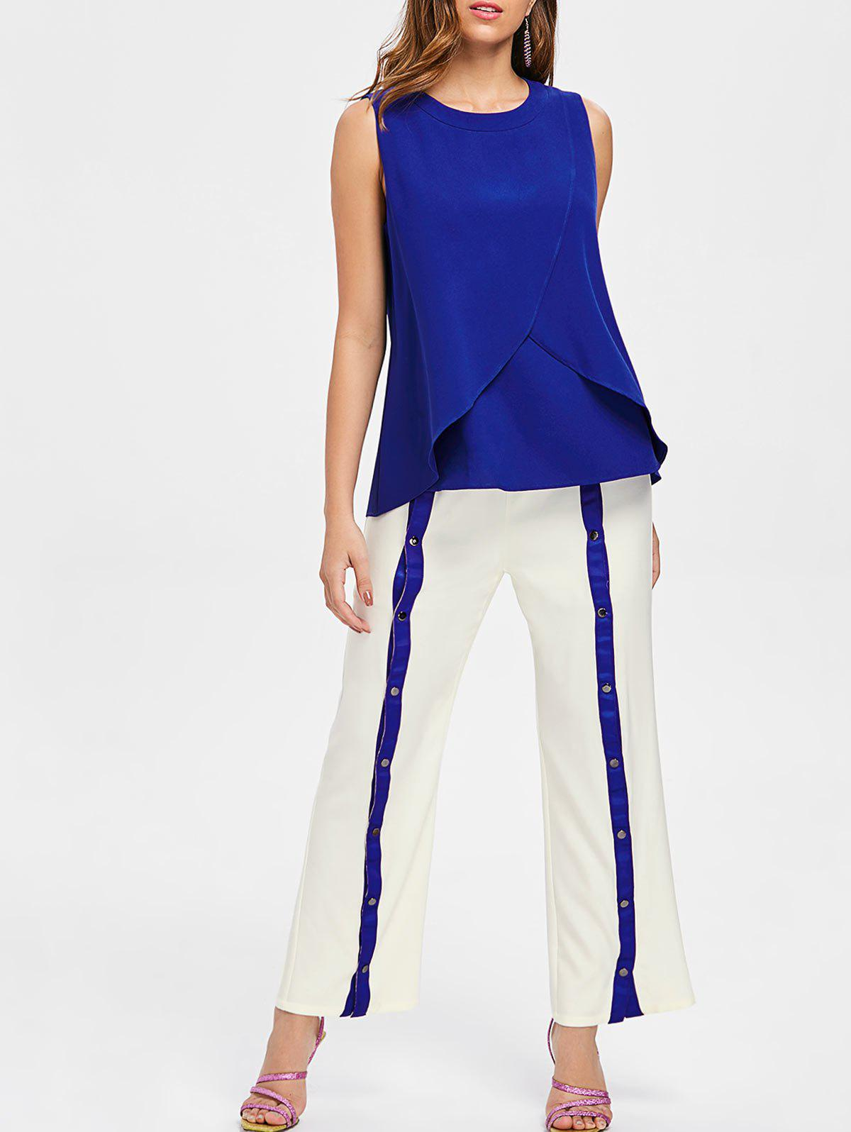 Overlap Top and Buttoned Wide Leg Pants - BLUE 2XL