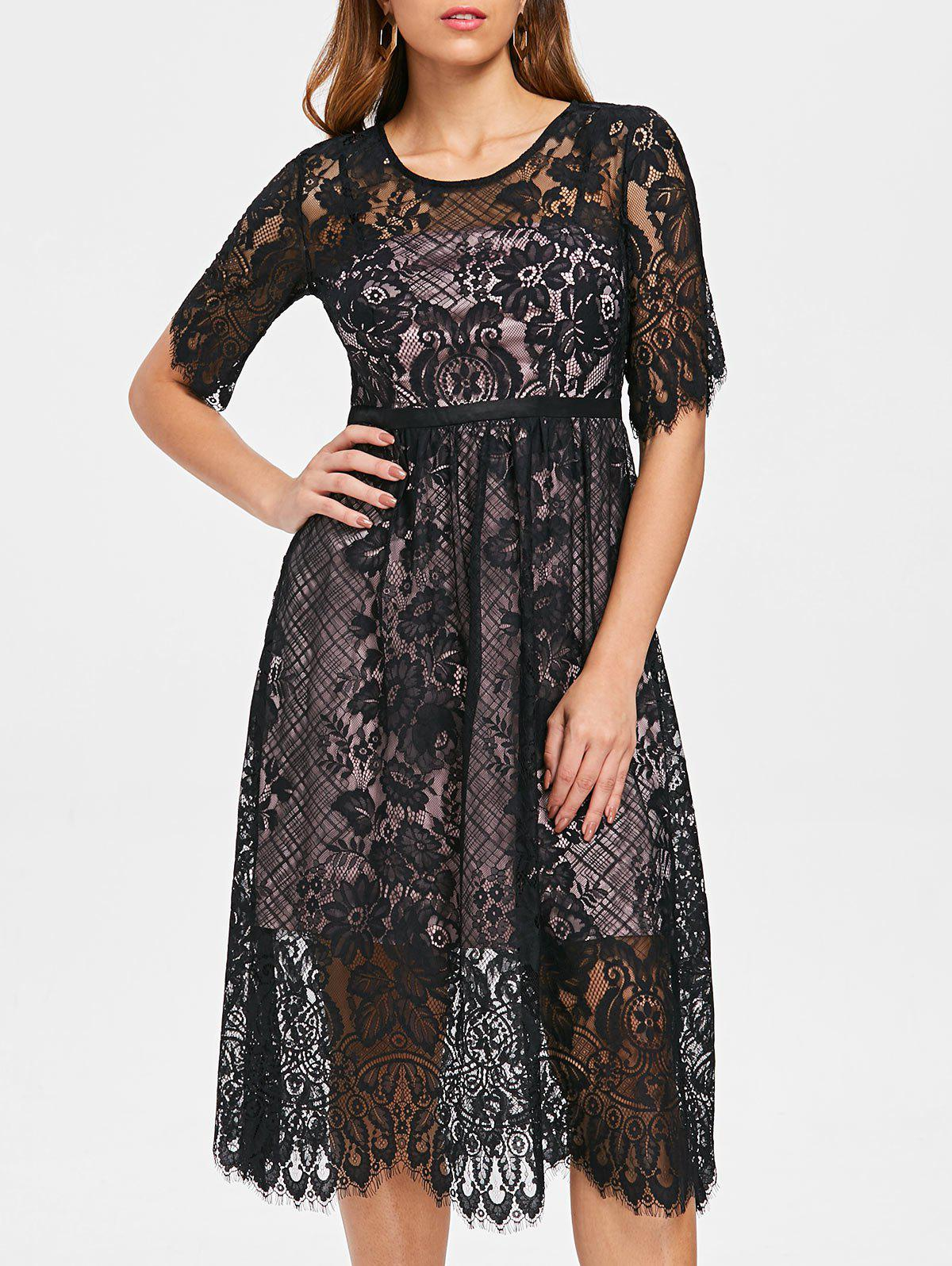 Floral Lace Midi Dress - BLACK 2XL