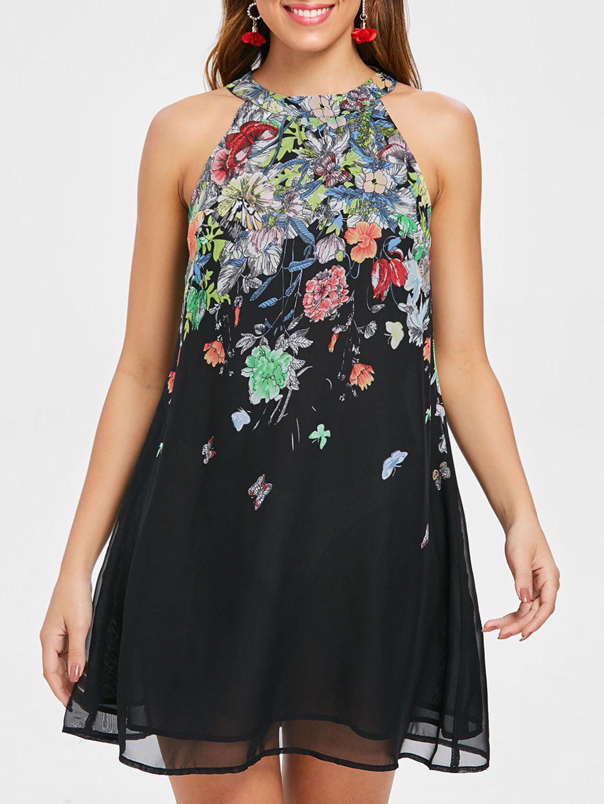 Flower Printed Jewel Neck Swing Dress - BLACK M