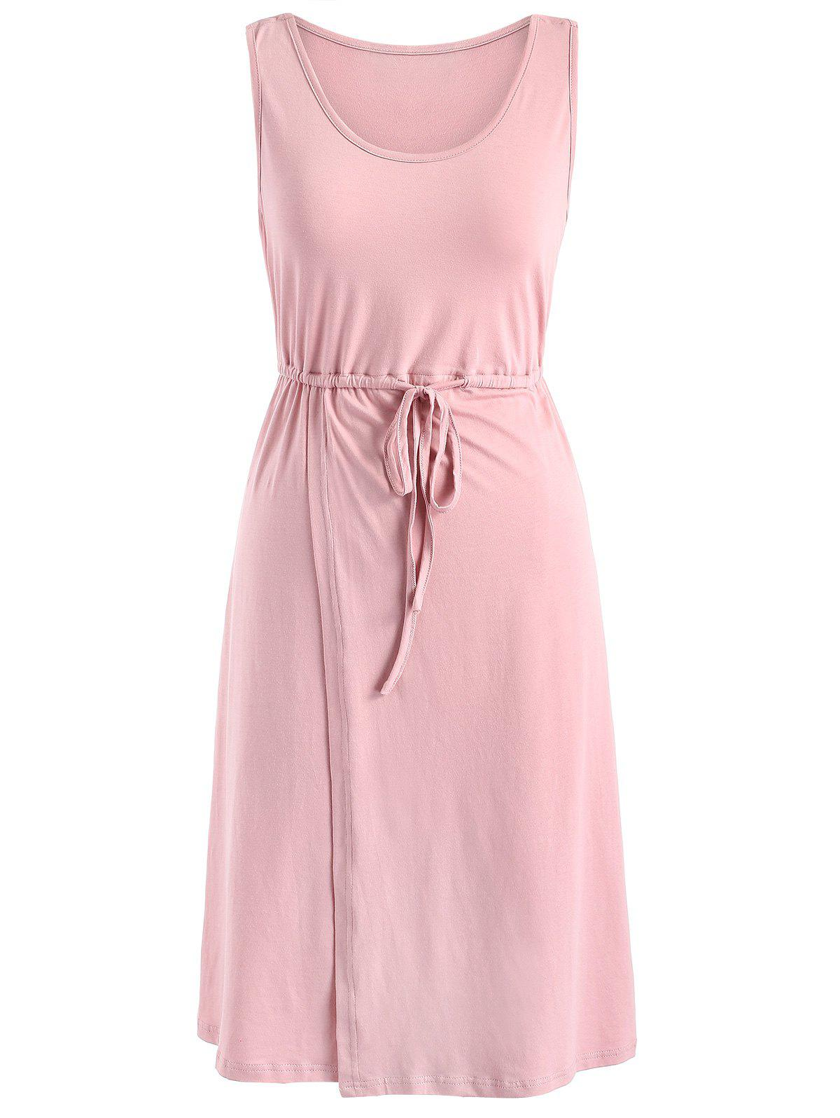 Drawstring Maternity Dress - PINK BUBBLEGUM M