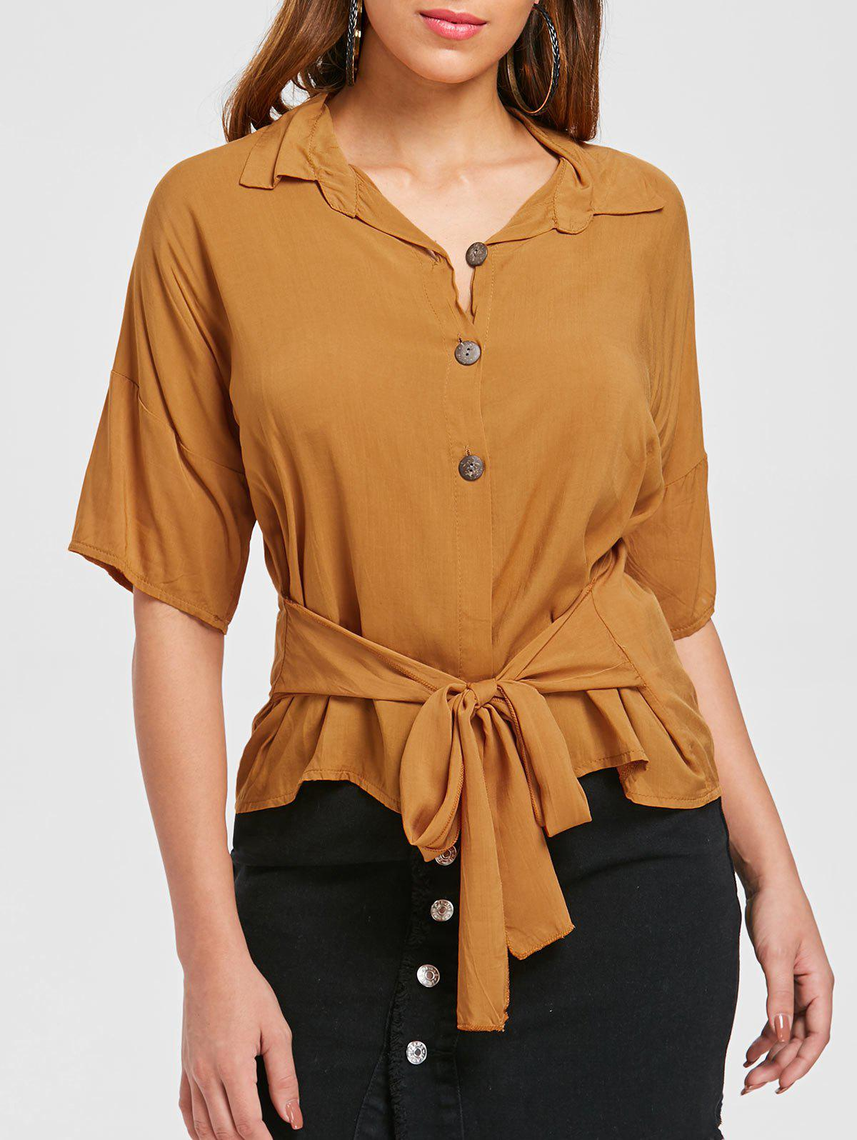 Buttoned Self Tie Shirt - ORANGE GOLD L