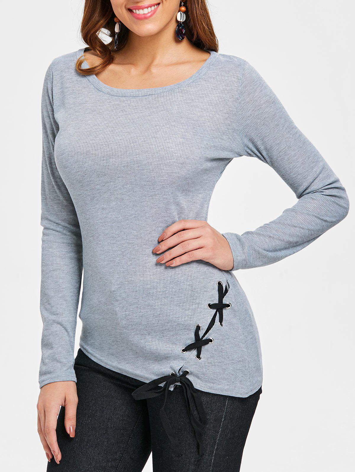 Criss Cross Fitted Top - GRAY S