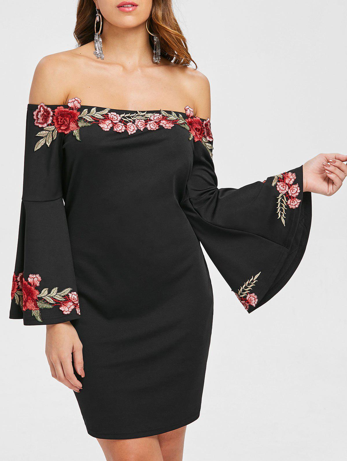 Embroidered Applique Flare Sleeve Straight Dress - BLACK M