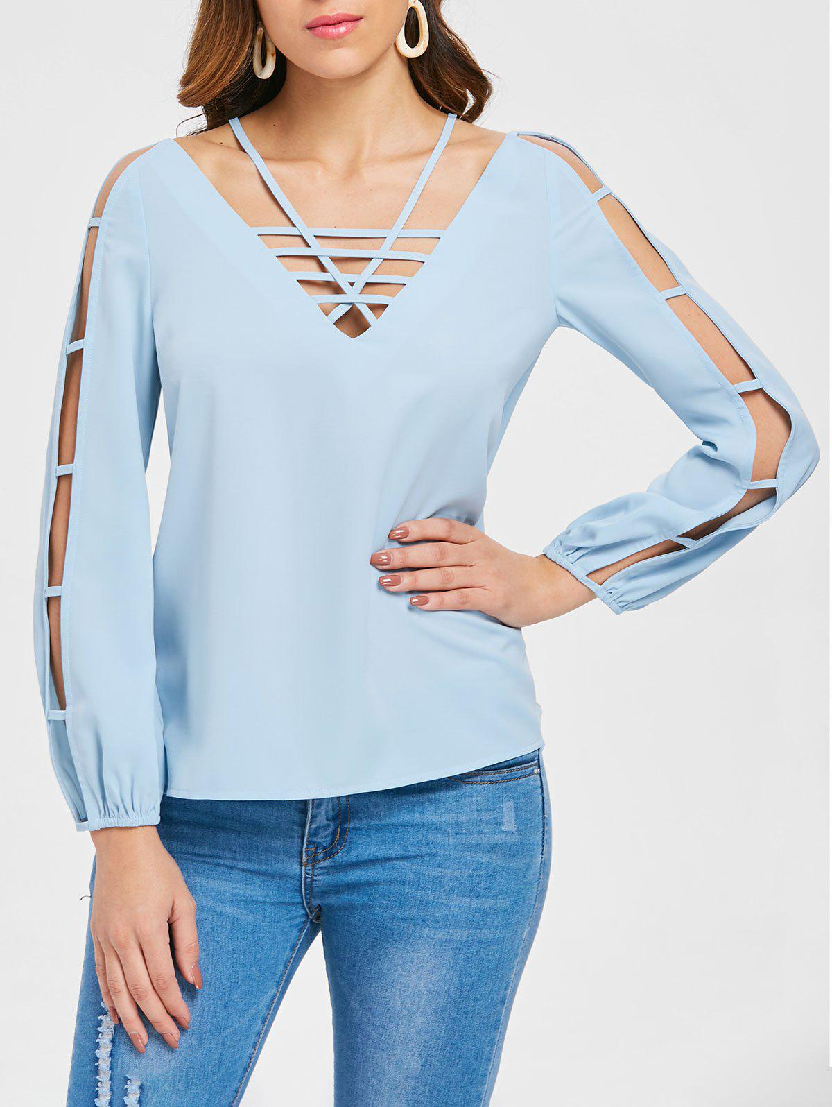Strappy Ladder Cut Out Top - BABY BLUE 2XL