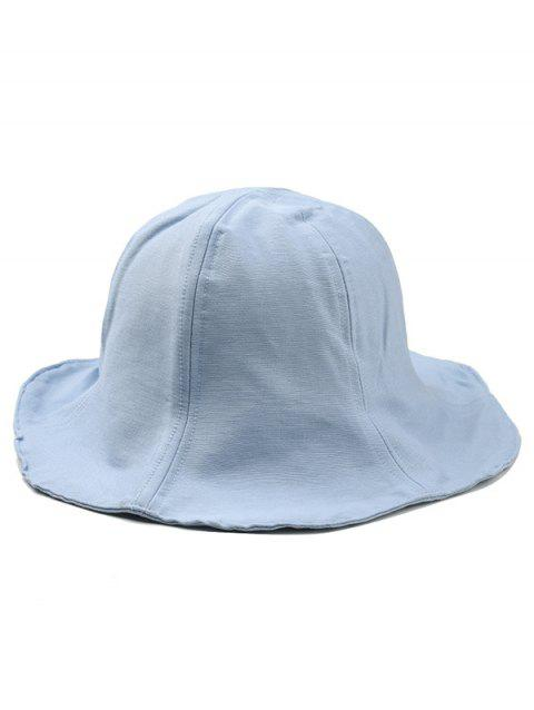 Vintage Wide Brim Solid Color Bucket Hat - LIGHT BLUE