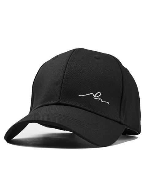 Simple Embroidery Solid Color Baseball Hat - BLACK