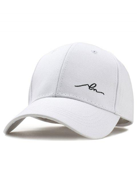 Simple Embroidery Solid Color Baseball Hat - WHITE