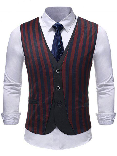 Single Breasted Striped Fake Two Pieces Waistcoat - multicolor XS