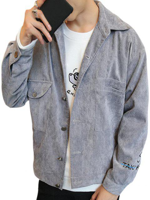 Turn Down Collar Embroidery Letter Coat - LIGHT GRAY 3XL
