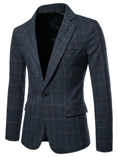 Lapel Collar Checked One Button Blazer - CADETBLUE XL