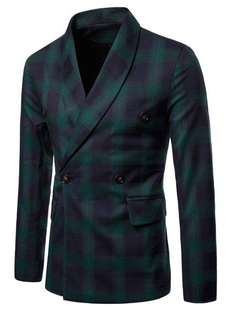 Shawl Collar Double Breasted Checked Blazer - DEEP GREEN M