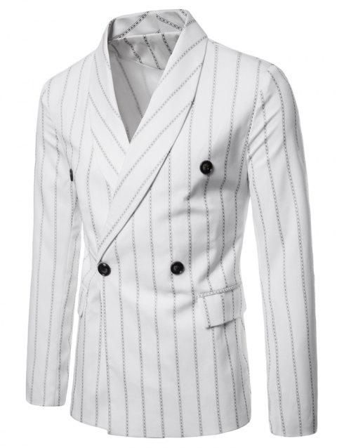 Shawl Collar Stripe Print Double Buttons Blazer - WHITE L