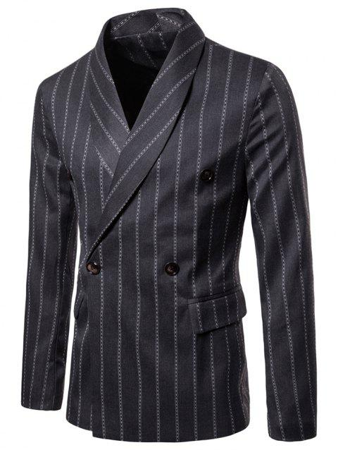 Shawl Collar Stripe Print Double Buttons Blazer - DARK GRAY XL