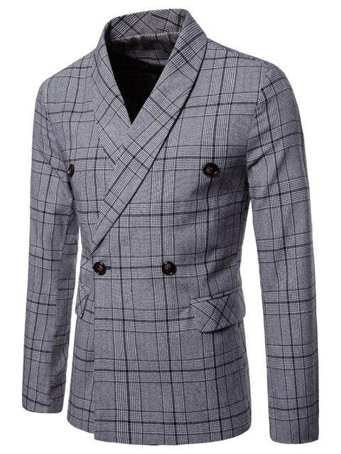 Plaid Shawl Collar Double Breasted Blazer - LIGHT GRAY 2XL