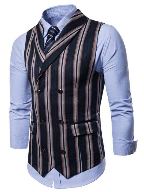 Stripe Double Breasted Shawl Collar Waistcoat - DEEP GREEN L