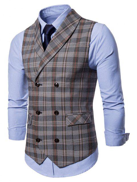 Shawl Collar Checked Double Breasted Waistcoat - GRAY M