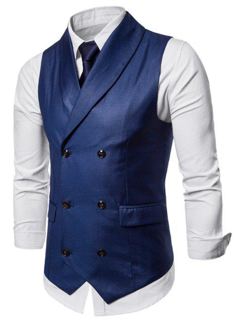 Double Breasted Shawl Collar Solid Color Waistcoat - BLUE XL