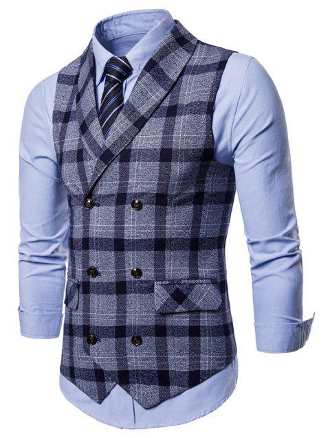 Plaid Shawl Collar Double Breasted Waistcoat - CADETBLUE 2XL