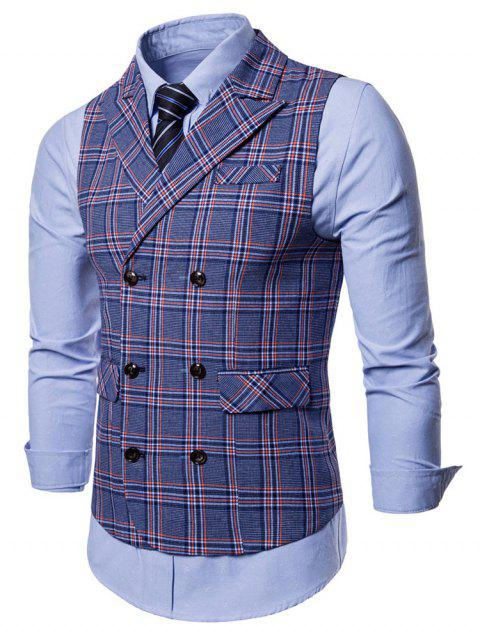 Double Breasted Lapel Collar Plaid Waistcoat - BLUE L