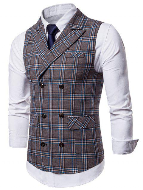 Double Breasted Lapel Collar Plaid Waistcoat - BLUE GRAY XL