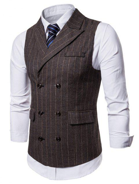 Lapel Collar Vertical Stripes Waistcoat - COFFEE 2XL