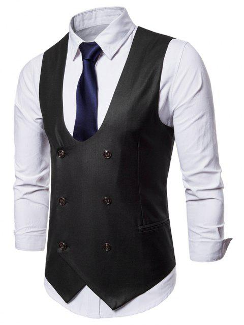 Solid Color Double Breasted U Neck Waistcoat - BLACK M