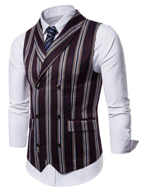 Stripe Double Breasted Shawl Collar Waistcoat - RED L