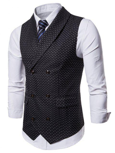 Double Breasted Back Belt Printed Waistcoat - BLACK XL