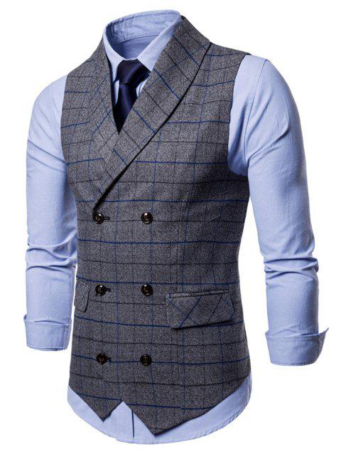 Shawl Collar Double Breasted Checked Waistcoat - GRAY L