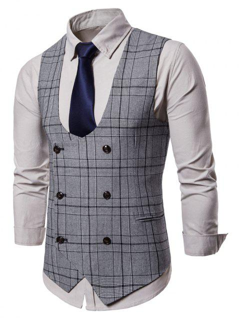 Double Breasted Plaid U Neck Waistcoat - LIGHT GRAY XL