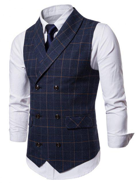 Shawl Collar Double Breasted Checked Waistcoat - CADETBLUE M