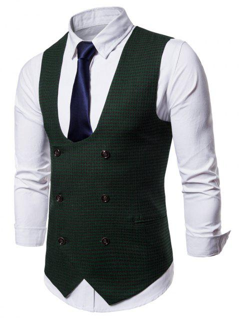 Double Breasted U Neck Houndstooth Waistcoat - DEEP GREEN L