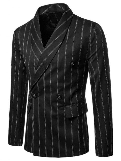 Shawl Collar Stripe Print Double Buttons Blazer - BLACK 2XL