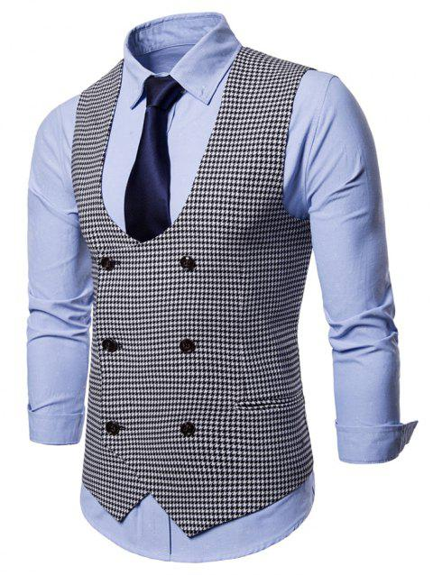 Double Breasted U Neck Houndstooth Waistcoat - MILK WHITE XL